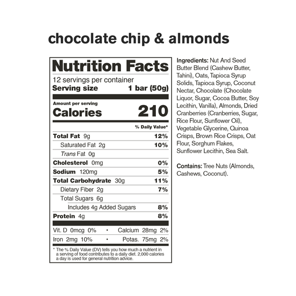 Skratch Labs Energy Bars Chocolate Chips & Almonds 50gr c/12 pz