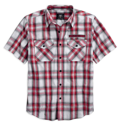 Harley-Davidson® Men's Checkerboard Short Sleeve Plaid Woven Shirt 96181-18VM - Lind Harley-Davidson