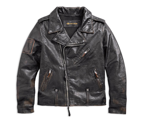 Harley-Davidson® Master Distressed Slim Fit Leather Biker Jacket - Lind Harley-Davidson