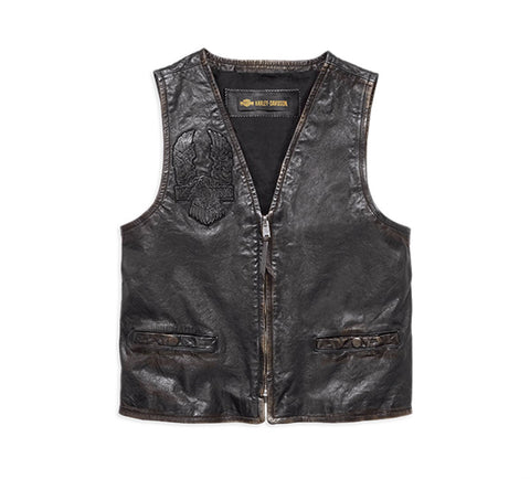 Harley-Davidson® Iron Distressed Slim Fit Leather Vest - Lind Harley-Davidson