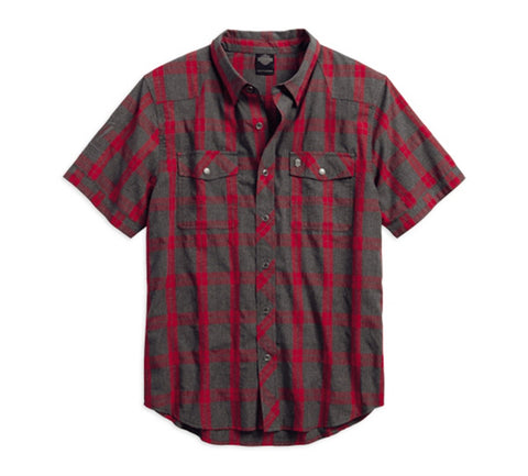 Harley-Davidson® Heathered Plaid Slim Fit Short Sleeved Shirt - Lind Harley-Davidson
