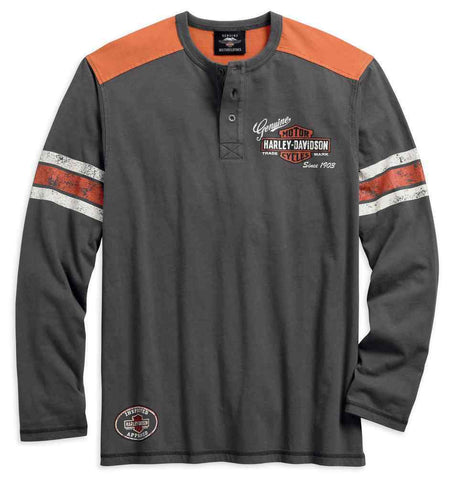Harley-Davidson® Men's Genuine Oil Can Long Sleeve Henley, Asphalt - Lind Harley-Davidson
