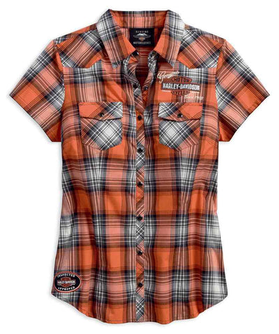 Harley-Davidson® Women's Genuine Oil Can Plaid Short Sleeve Shirt - Lind Harley-Davidson