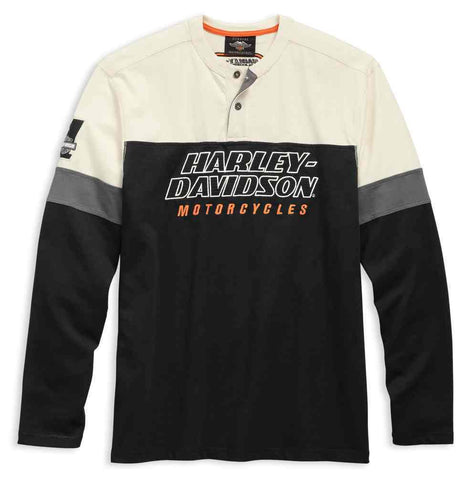 Harley-Davidson® Men's H-D Racing Long Sleeve Colorblocked Henley 99167-19VM - Lind Harley-Davidson