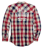 Harley-Davidson® Men's #1 Plaid Zippered Slim Fit Long Sleeve Shirt 99194-19VM - Lind Harley-Davidson
