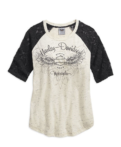 Harley-Davidson® Lace Accent Elbow T-Shirt - Lind Harley-Davidson