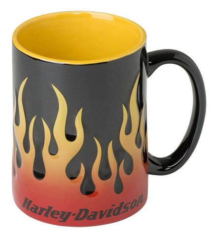 Harley-Davidson® Core Sculpted Flames Coffee Mug, 15 oz. - Black HDX-98604 - Lind Harley-Davidson