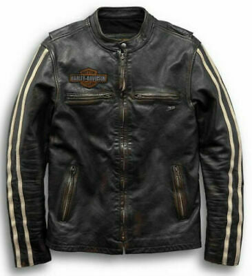 HARLEY-DAVIDSON® Men's Sleeve Stripe Slim Fit Leather Jacket 97048-19VM - Lind Harley-Davidson