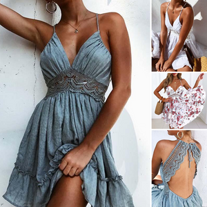Fashion Sexy Backless Sleeveless Lace Braces Summer Casual Dress