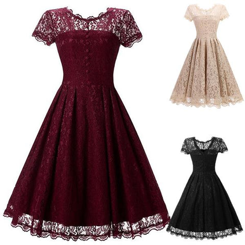 Style Round Neck Lace Vintage Dress(4 Colors)