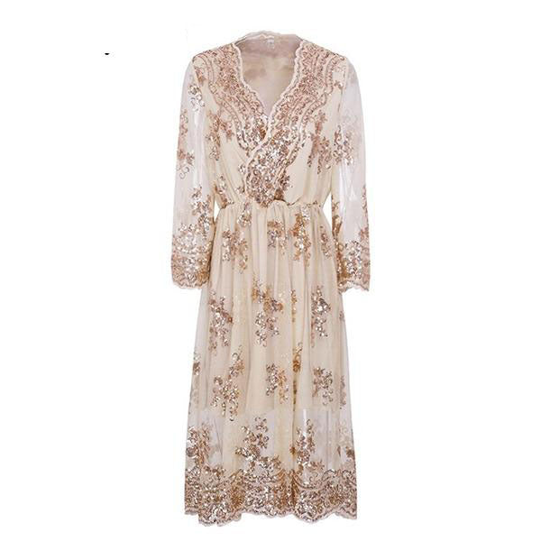 Sexy V neck elegant long sleeve sequin Chiffon Dress