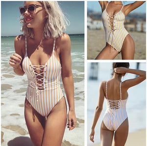 Sexy Backless Tie One-piece Swimsuit