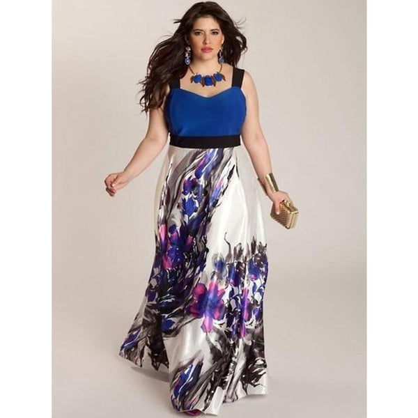 Plus Size Condole Belt Sleeveless High Waist Printing Sexy Maxi Dress(L-5XL)