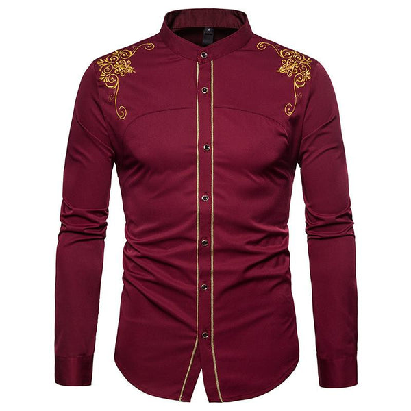 Men's Casual Business Embroidered Long Sleeve Shirt