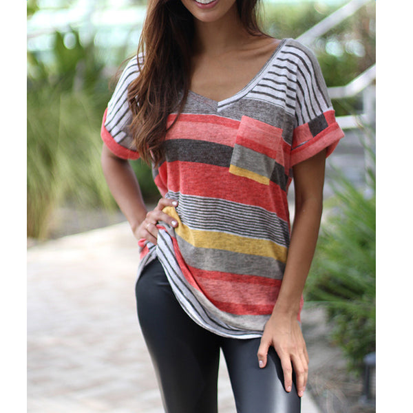 T-shirt Loose Irregular Striped V Neck Tops Plus Size