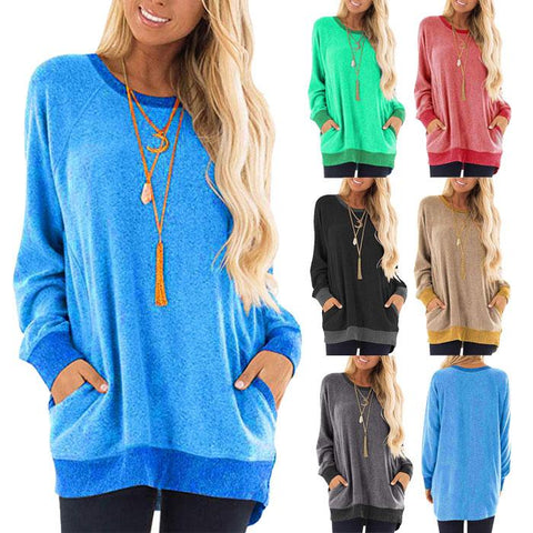 Women Round Neck Long Sleeve Pocket Pullover Sport Casual T-shirt Blouse Tops
