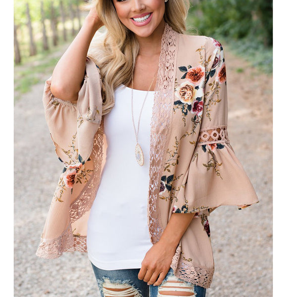 Women's Long Sleeve Lace Floral Kimono Cardigan