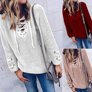 Women Long Sleeve Deep V-neck Casual Bandage Sweater