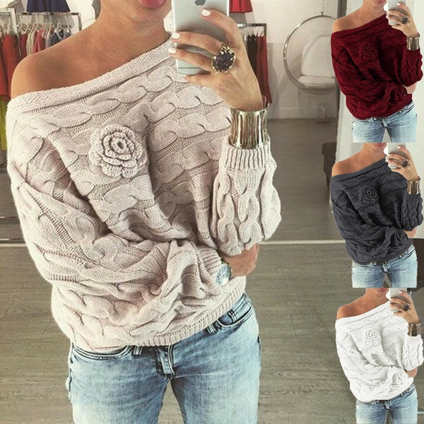 Women'sFashion Flower Sweaters Sexy Off Shoulder Jumpers