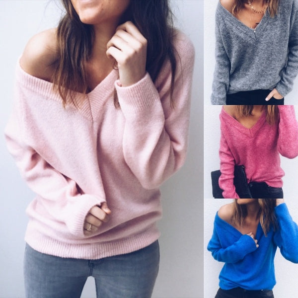 Fashion Long Sleeve V Neck Loose Knitted Sweater