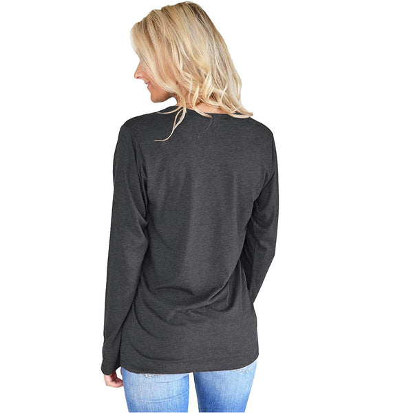 Round Neck Long Sleeve Letter T-shirt