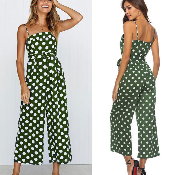 Polka Dot Wide Leg Jumpsuit Ladies Summer Strappy Loose Casual Playsuit