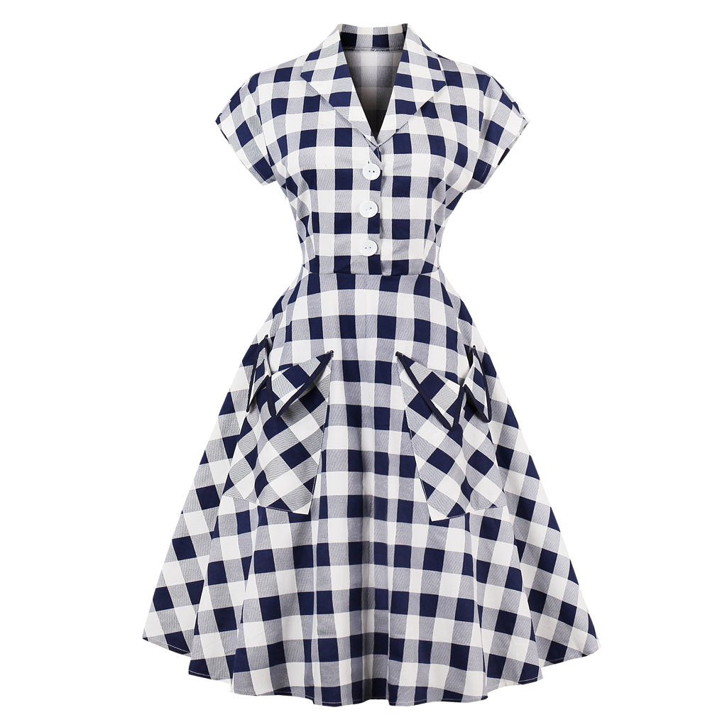 Lapel Short-Sleeved Pocket Vintage Dress