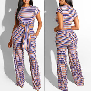 Women Fashion Two-Piece Striped Print Casual T-shirt + Pants Set