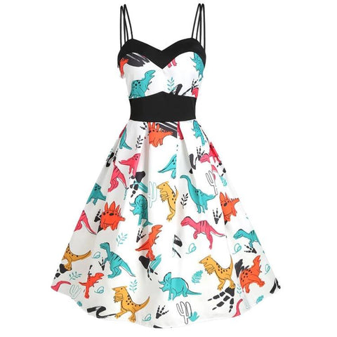 1950s Dinosaur Print Dual Vintage Women Strap Dress