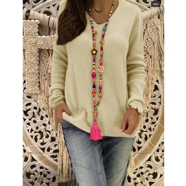 Fashion V Neck Long Sleeve Knitwear Casual Pure Color Coats