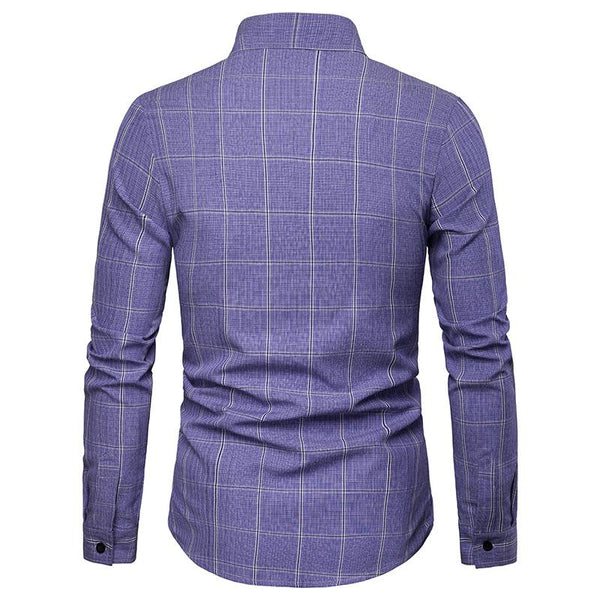 Men's Casual Business Plaid Casual Long Sleeve Shirt