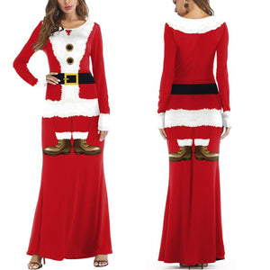 Christmas 3D Print Santa Claus Costume Party Long Dresses