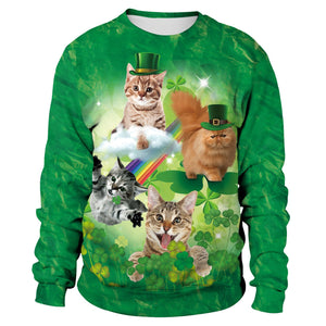Saint Patrick's Day Shamrocks Cat Print Sweatshirt