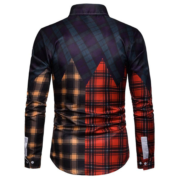 Men's Casual Business Multicolor Plaid Panel Casual Long Sleeve Shirt