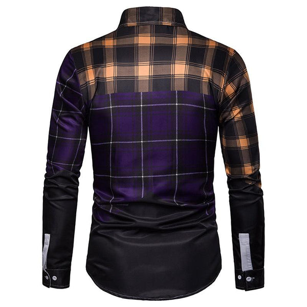 Men's Business Multicolor Plaid Casual Long Sleeve Shirt