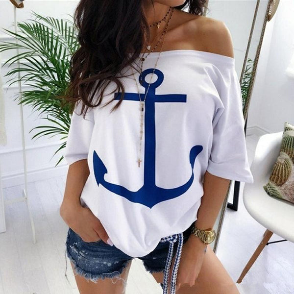 Standard Half Sleeve Off Shoulder Loose Women's T-Shirt