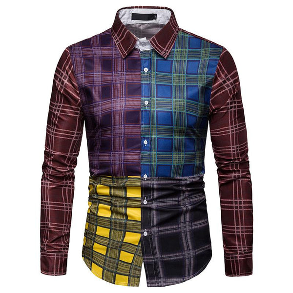 Men's Multicolor Plaid Casual Long Sleeve Shirt