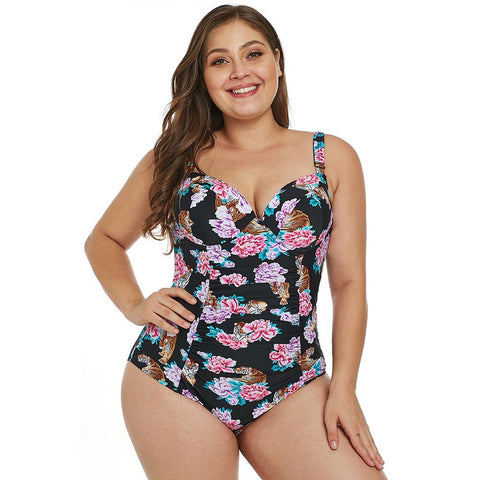 Plus Size Halter Underwire Floral One Piece Swimsuit