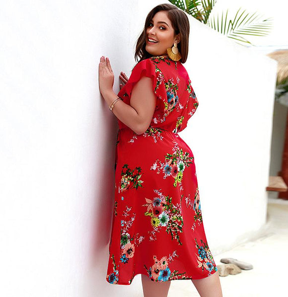 Fashion Plus Size Floral Printed V Neck Empire Waist Short Sleeve Split Women Midi Dress