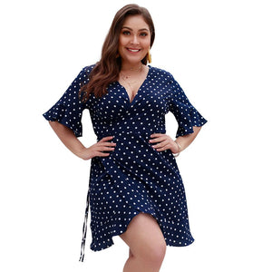 Polk Dot Print Bodycon Plus Size Dress