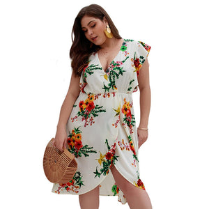 Plus Size Print Cross V Neck Sexy Dress