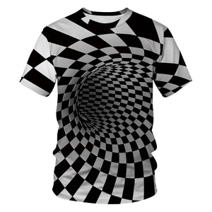 3D Plaid Swirl Printed Funny Men T-shirt Funny Casual Novelty Short Sleeve Tees Top