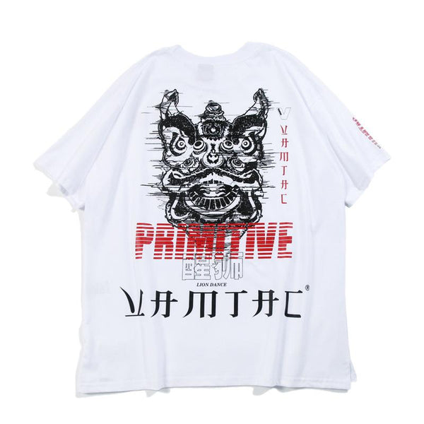 Hip Hop Loose Couple Lion Print T-Shirt