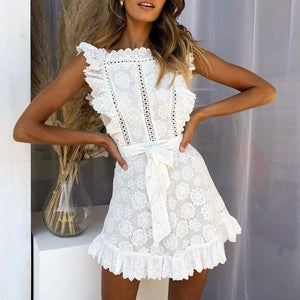 Elegant Embroidery Lace Hollow Ruffle Summer Dress