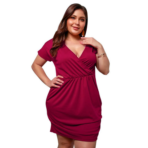Short Sleeve Bodycon Women Plus Size Dress