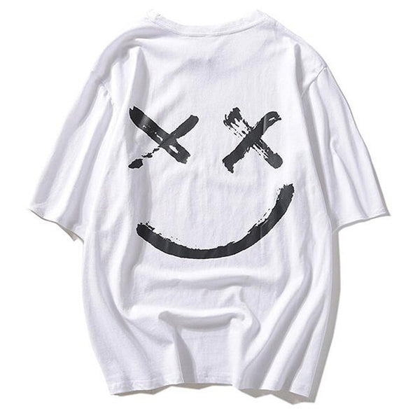 Smiley Print Short Sleeve Loose T-shirt