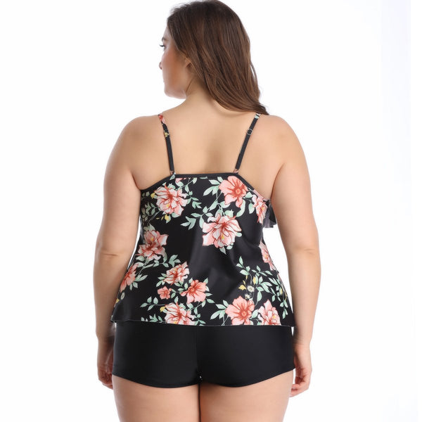 Large Size Ruffled Print Swimsuit  S-3XL