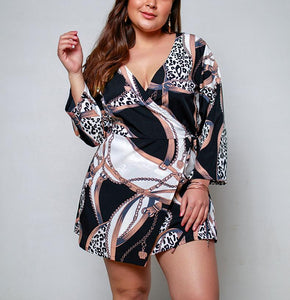 Plus Size Deep V Neck Print Cross Women Dress