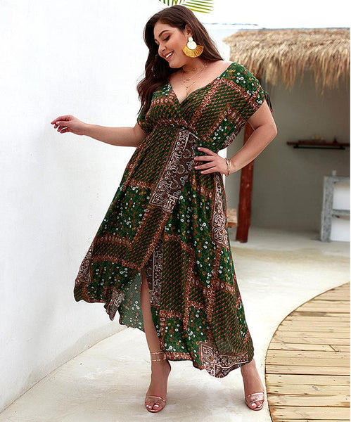 Boho Printrd Patchwork Plus Size Dress