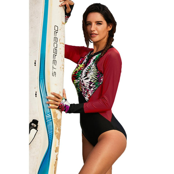 Fashion Floral Print Long Sleeve Zip Rash Guard UV Protection  Wetsuit and Surfing One Piece Women Swimsuit Swimwear Bathing Suit